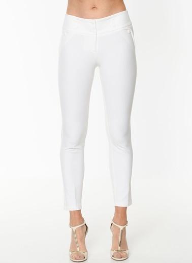 Jument Dream Yüksek Bel Süs Cepli Bilek Boy Pantolon Beyaz